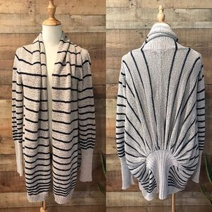 BCBGMaxAzria Blue/Tan Striped Cardigan Jane
